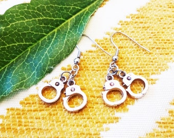 HANDCUFF EARRINGS - handcuffs - surgical stainless steel ear wires - non allergenic, hypoallergenic, sensitive ears