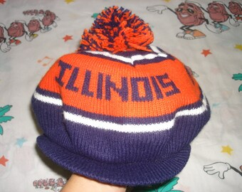 Vintage 80's Fighting Illini knit billed Pom Beanie, Adult Size cap Tam O' Shanter University of Illinois