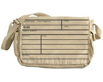 AVID Cornell Notes Graphic© Messenger Bag. Teacher gift, student gift, professor gift. Unisex Diaper Bag, teacher bag, school bag, carry on.