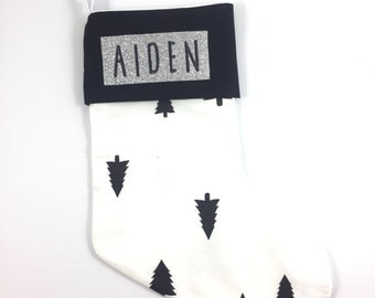 Personalised Monochrome Tree christmas stocking with embroidered name on SILVER glitter felt