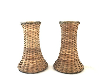 Wicker Wrapped Brass Candlesticks - Reed and Wire Woven Candle Holders
