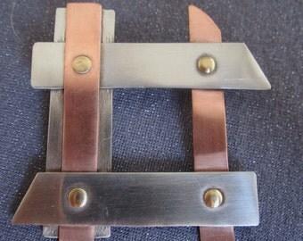 mixed metal brooch, modern jewelry, copper jewelry, steel jewelry, industrial jewelry, copper brooch, industrial brooch, modern brooch, gift