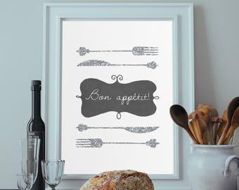 Bon Appetit Decor Silver Glitter Kitchen Utensils Print Kitchen Utensils Decor Printable Kitchen Wall Art Kitchen Art Print Digital Download