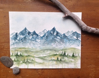 Mountain Landscape - Original Watercolor Painting