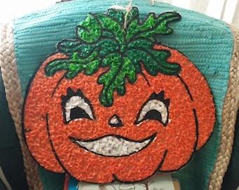 VTG Melted Plastic Popcorn Halloween Jack O' Lantern Pumpkin