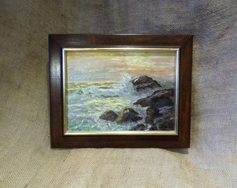 Original Signed Oil Painting, Seashore Breaking Waves on Rocks, Vintage Seascape Oil on Canvas and Mounted