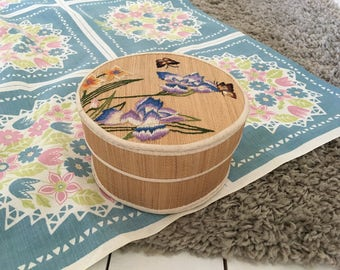 Vintage Swedish embroidery - embroidered woven trinket box - botanical floral embroidery - Scandinavian mid century modern home decor