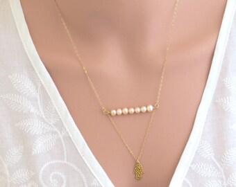 White Opal Hamsa Necklace Gold Hamsa Necklace Silver Hamsa