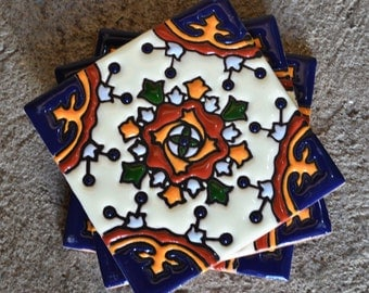 "6  Mexican Talavera Tiles handmade- Hand painted 4 ""X 4"" or 6"" x 6"""