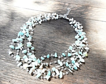 Aquamarine Raw Gemstone Multistrand Necklace , Glass Seed Beads Floating Crochet Invisible Necklace, Statement Boho Bohemian Air necklace