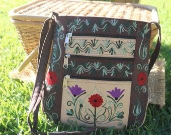 Tibetan Woven Fabric and Suede Messenger Bag