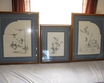 Set of 3 matching prints framed numbered and signed by Wade Butler