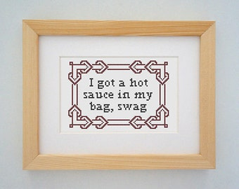 Framed 'I got a hot sauce in my bag, swag' cross stitch - inspired by Beyonce