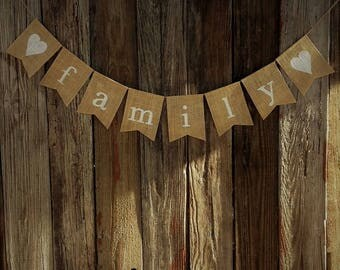 Burlap Banner - FAMILY - Burlap Bunting - Seasonal Banner - Photo Prop - Holiday Banner - Thanksgiving Decor - Christmas Decoration