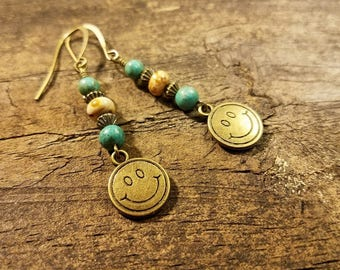 Bronze Earrings, Boho Earrings, Funky Earrings, Dangle Earrings, Beach Earrings