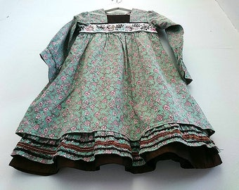 KENZO kids / Girls 10 Years / Fancy Occasion Pinafore floral dress green pink art nouveau