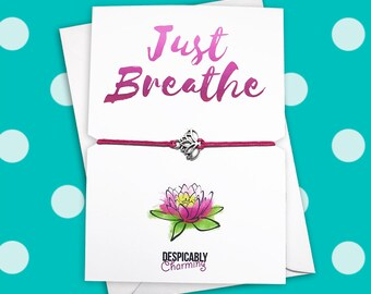 Yoga bracelet, Yoga gift, Lotus bracelet, Yoga card, Yoga string bracelet, Wish string bracelet, personailsed bracelet, birthstone bracelet