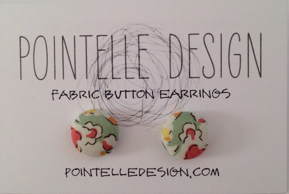 Liberty of London print fabric covered button earrings lightweight studs yellow green pink spring