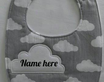 Personalised baby bib custom name burping dribble bib
