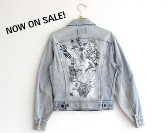Vintage Lee Denim Jacket, Custom Denim Jacket, Upcycle Jean Jacket, Lee Rider Jacket, Hand Paint Denim Jacket, Thrashed Jean Jacket