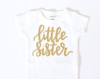 Little sister onesie, Baby girl clothes, Little Sister Shirt, little sister onesie, gold glitter bodysuit, baby girl onesie