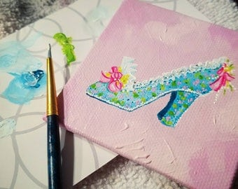 "ORIGINAL Mixed Media One-Of-A-Kind Miniature ""Marie's Pink Shoe"" Painting 3""×3"""