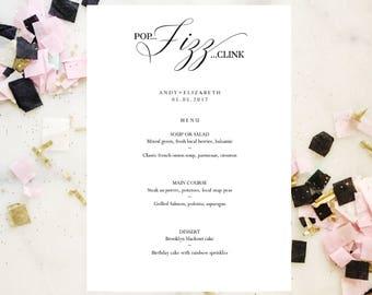 Champagne Editable Menu Template, Bar Menu, Drink Menu. Printable Wedding Menu Template, Instant Download, Reception Menu, Wedding Sign