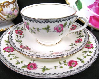 Aynsley tea cup and saucer pink blossoms painted teacup trio