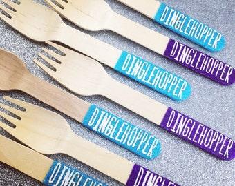 Glitter Dipped Dessert Wooden Spoons - Forks - Custom Stamp Opt. - Housewares - Utensils - Multiple Colors - Mix & Match - 25/pack