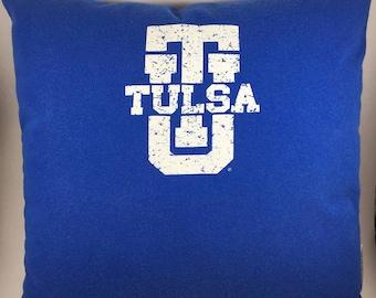 University of Tulsa T-shirt Throw Pillow, Golden Hurricane