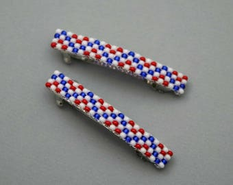 Small Patriotic Barrettes, Beaded French Barrettes Red, White, Blue, Small July 4th Hair Accessories