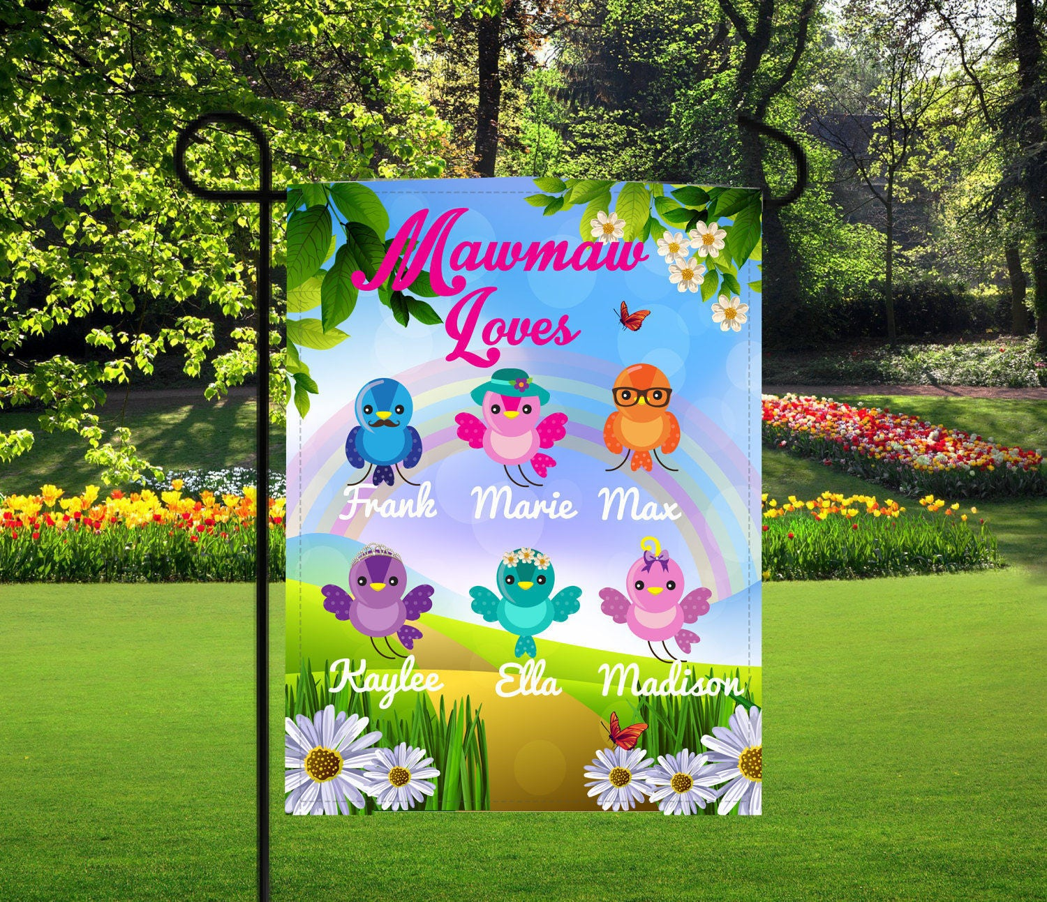 personalized birds garden flag mothers day gifts nana gifts