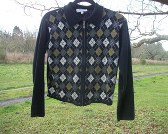 Retro 90s does 50s Darling ZIPUP ARGYLE SWEATER, Ribbed Sleeves n Back, X Sm