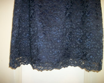 Retro 80s does 50s Pretty FRENCH NAVY LACE Skirt over a Satin lining, back zipper, 14 wide