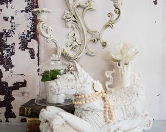 White wood handpainted rocking horse~Pearl Diamond horse~horse statue French Nordic embellished~Shabby chic diamond horse~ReDesignsbyV