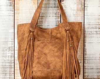 Distressed leather tote, Leather tote bag, tan leather bag, Fringes leather tote, Distressed leather purse, Leather laptop bag, school bag
