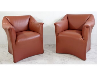 Mid Century Modern Pair Tentazione Leather Lounge Chairs By Bellini For Cassina