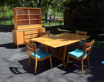 Mid Century Modern Heywood Wakefield Champagne Dining Table 4 Chairs & Hutch