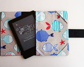 Fishes fabric eBook case, eBook protector, Kindle denim cover, Kindle fabric case, Fishes cover, Sea map case, Soft cover, Kindle Voyage