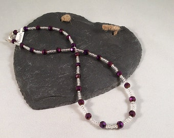 Clear and Purple Shimmer Necklace