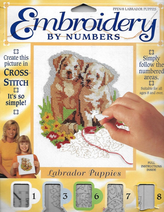 Puppy Bows ~ craft items yellow Labrador retriever dogs embroidery by numbers instructions