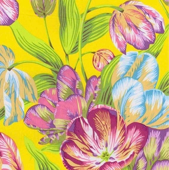 TULIP EXTRAVAGANZA YELLOW pwpj089 Philip Jacobs for Kaffe Fassett Collective Sold in 1/2 yd increments