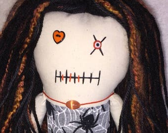 "Creepy n Cute Zombie Doll - "" Orange n Spiders"" Gal (D)."