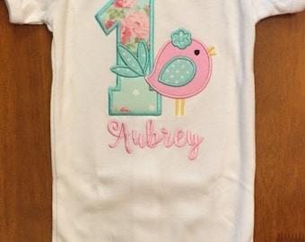 Pink and Aqua Blue Little Birdie Birthday Shirt or Baby Bodysuit