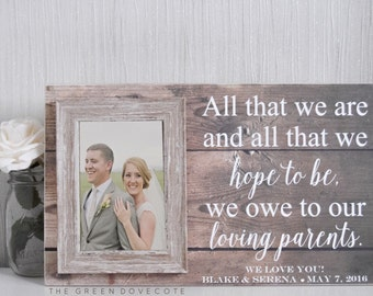 Mother Of The Groom Gift - Mother Of The Bride Gift - Wedding Gift For Mom - Custom Wedding Frame - Parents Thank You Gift