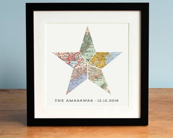 Nautical Star 5 Map Personalized Wedding Anniversary or Engagement Gift, Gift for Couple, Anniversary Gift, Star Art, Nautical Star