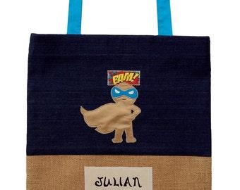 Personalised Kids Library Bag- Superhero