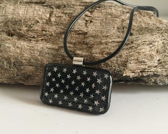 Handmade Fused Glass & Sterling Silver Star Pendant
