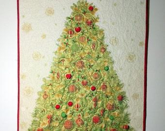 Elegant Winter Quilted Wall Hanging, Gold Metallic Tree, Hostess Gift, Teacher Gift, Christmas Quilt Decor, Housewarming, Quiltsy Handmade