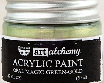 Finnabair Art Alchemy Opal Magic Prima Acrylic Paint 1.7 oz  GREEN-GOLD  #963651